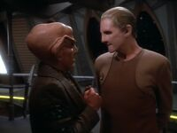 Quark and Odo on the Promenade