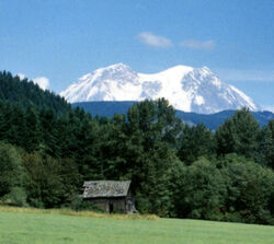 Mount Rainier with Cabin