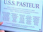 USS Pasteur dedication plaque