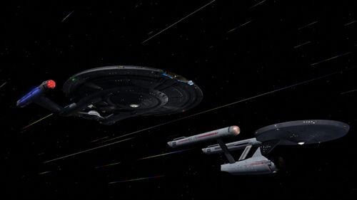 ISS Avenger and USS Defiant at warp