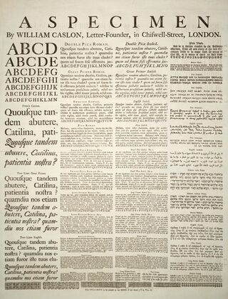 Caslon-schriftmusterblatt