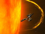USS Enterprise skims near Sol