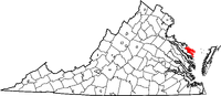 Map of Virginia highlighting Northumberland County