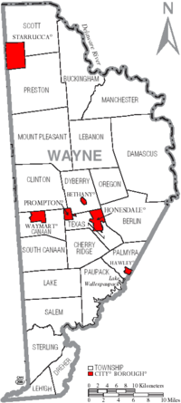 Map of Wayne County Pennsylvania With Municipal and Township Labels