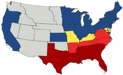 Map of U.S. showing two kinds of Union states, two phases of secession and territories.