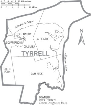 Map of Tyrrell County North Carolina With Municipal and Township Labels