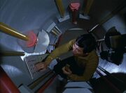 Hikaru Sulu inside Jefferies tube