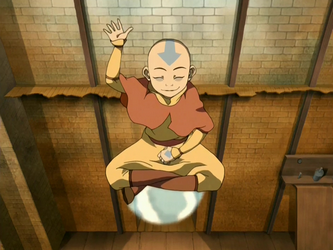 """Aang floats on an """"air scooter"""""""
