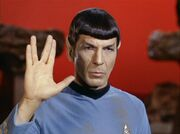 Spock performing Vulcan salute