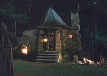 Hagrid's hut at night