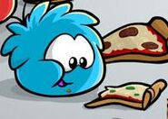 A Blue Puffle Eating Pizza