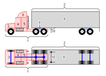 Conventional 18-wheeler truck diagram