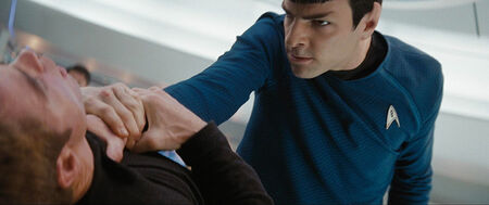 Spock attacking Kirk