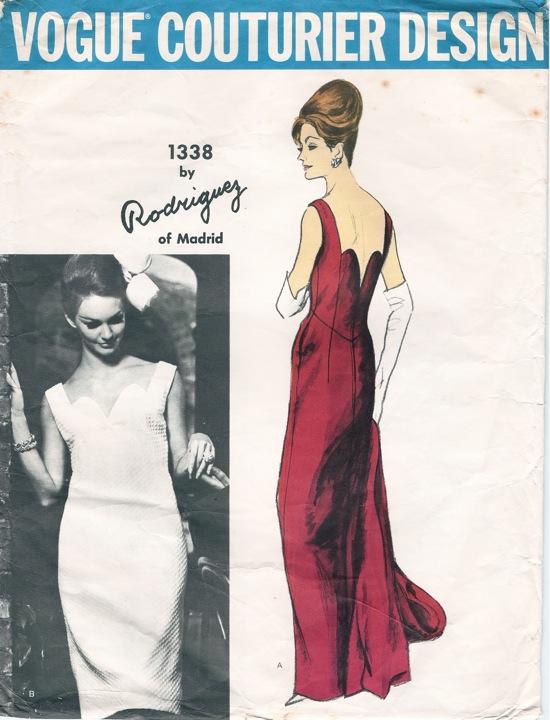 Vogue 1338 by Pedro Rodríguez 1960s evening dress pattern