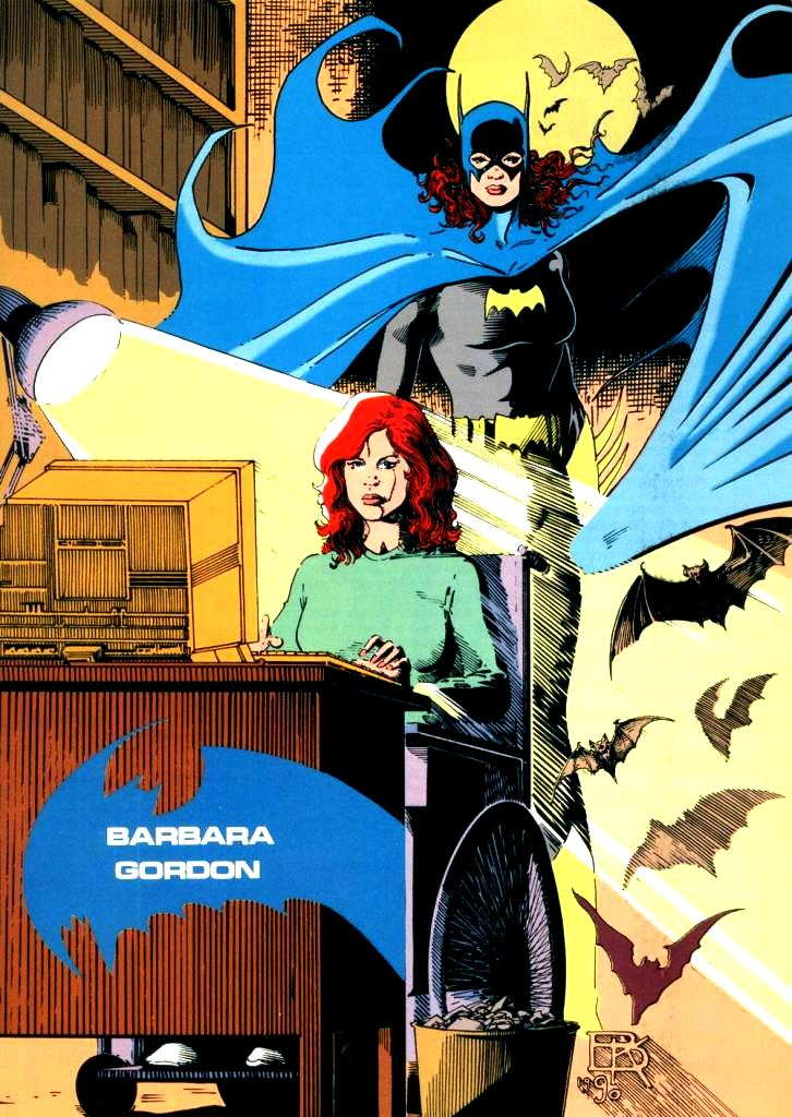 Barbara Gordon both as a librarian and the vigilante Batgirl.