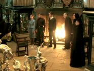 Triwizard champions, Barty Crouch Sr, Snape and McGonagall at the Trophy Room