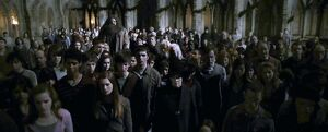 Crowd who saw Professor Dumbledore&#39;s dead body in the courtyard