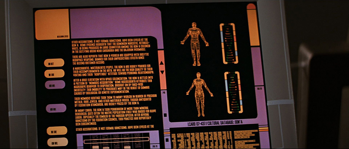 FUI Tablette dans Star Trek Next Generation avec ses okudagrams