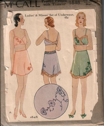 Vintage bra and panties sewing pattern from the 1920 s