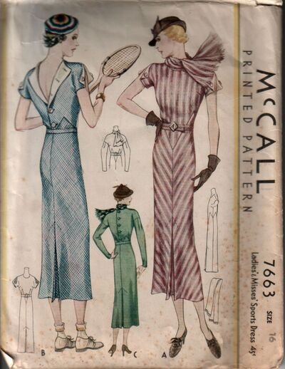 McCall 7663 early 1930s sports dress for tennis