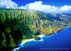The Na Pali Coast of the island of Kauai.