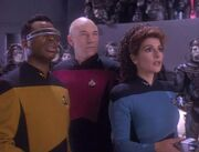La Forge Picard und Troi