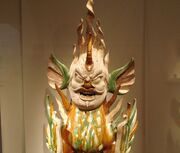 Sancai earthenware tomb guardian, Tang Dynasty