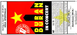 6 april 1987 duran duran ticket