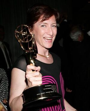 Producer Lisa Henson with Emmy awarded to Henson Digital Puppetry Studio at Engineering Awards on August 22 2009