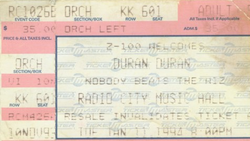Duran Duran concert ticket jan 11 94
