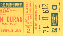 Duran ticket 21 mar 84