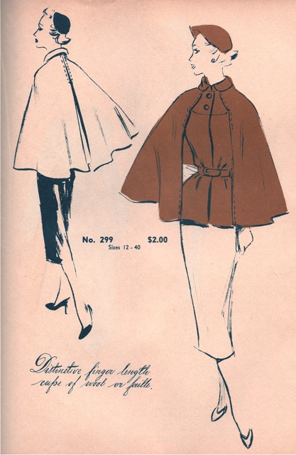Originator 299, a 1950s cape pattern