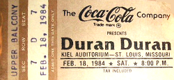 Ticket duran duran 18 feb 1984