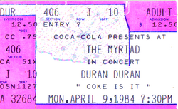 Ticket duran duran 9 april 1984