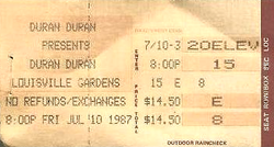 Ticket duran duran 10 july 1987