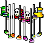 Shy Guys on stilts