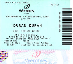 Ticket duran duran wembley ticket 14 april