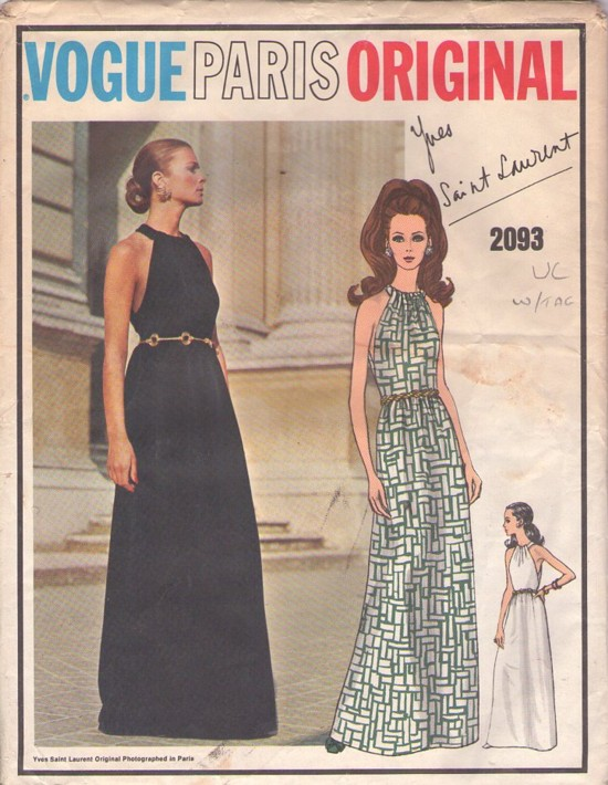1960s Yves Saint Laurent evening dress pattern - Vogue 2093