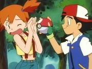 EP003 Misty rechazando la Poké Ball de Caterpie