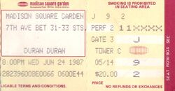 DURAN DURAN CONCERT TICKET MADISON SQUARE GARDEN 1987 2