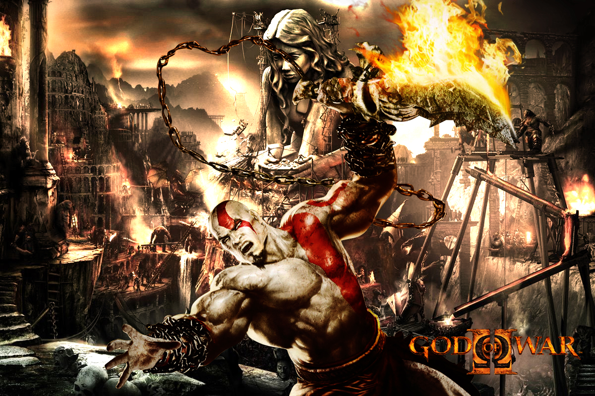 God of War 3 wallpaper. Featured on:File:God of War wallpaper by LH