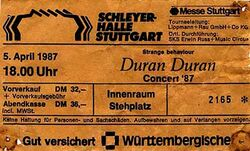 Ticket duran duran stuttgart april 1987-04-05 ticket