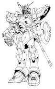 XXXG-01S Gundam Shenlong Front View Lineart