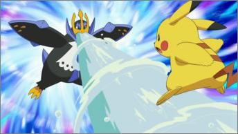 Empoleon de Barry/Benito utilizando hidrobomba contra el Pikachu de Ash.