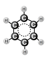 Benzene molecule - ball and stick