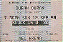 Ticket duran duran birmingham 12 september 1993