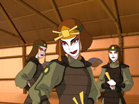 Suki and two Kyoshi Warriors