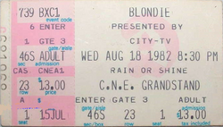 Blondie ticket C.N.E. TORONTO duran duran 18 august 1982
