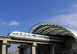 Схема магнитной монорельсовой трассы Шанхайская монорельсовая трасса берет начало на станции Луньянлу линии 2.
