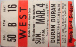 Ticket duran duran toronto 4 march 1984